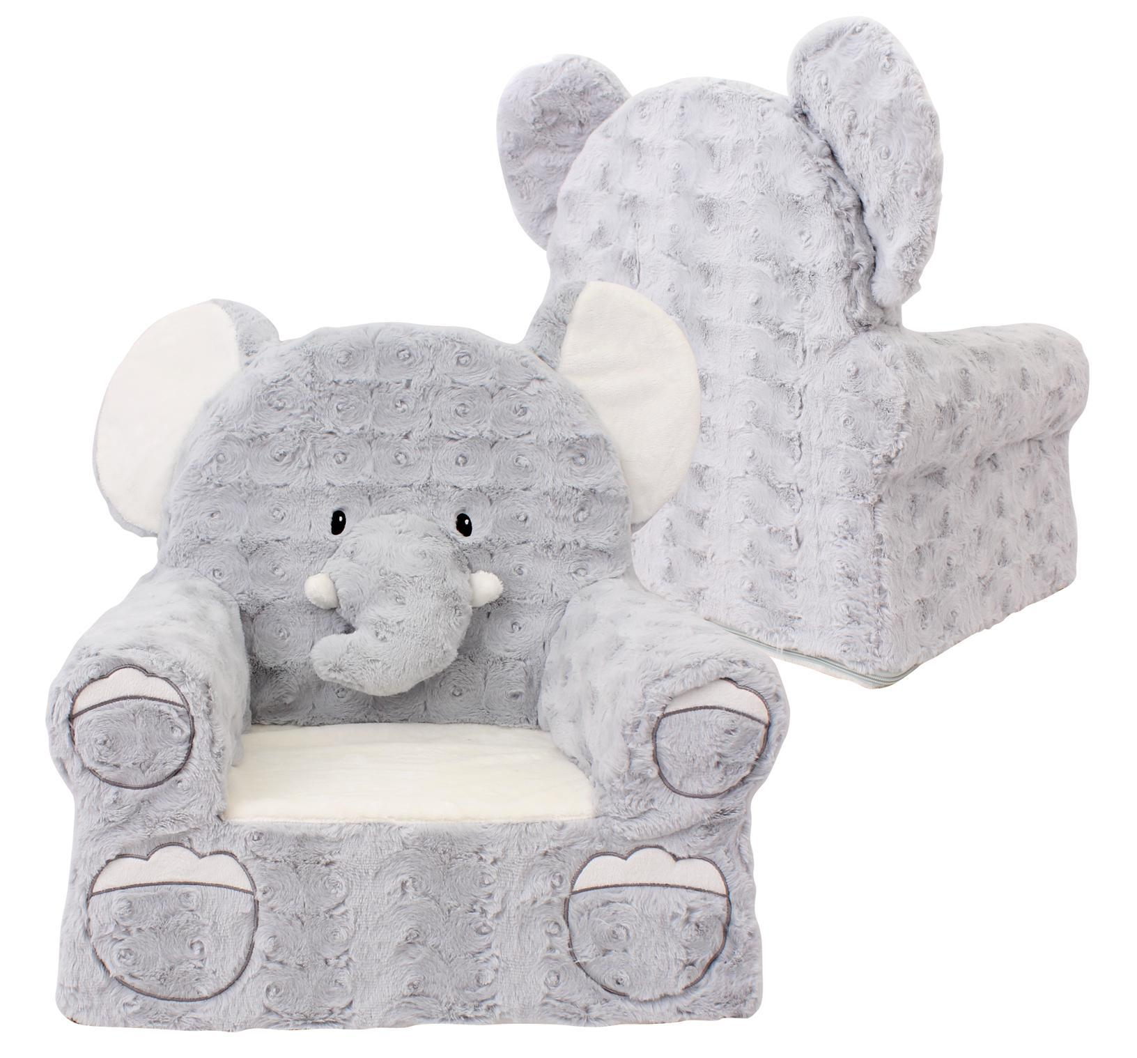 Sweet seats elephant plush childrens chair grey one size for Grey childrens chair