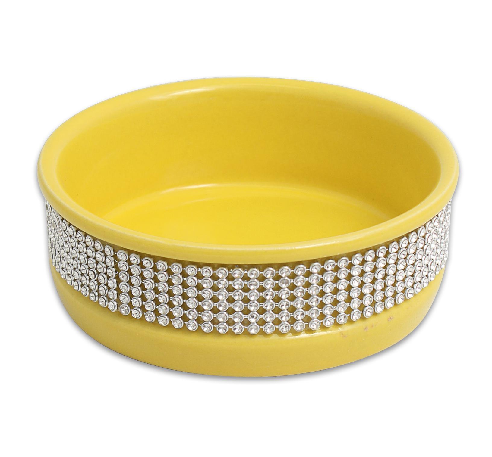 Cat Dog Pet Bowl 4 5 Quot Yellow Cute Paws Diamond Stone Dish